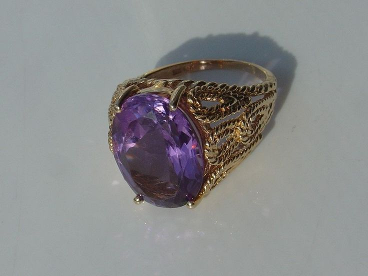 Open Rope 10K Yellow Gold Ring Large Carat Purple Amethyst Color Stone Size 8