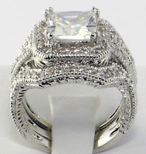 Princess Cut CZ Bridal Engagement Wedding Ring Set   SIZE 9