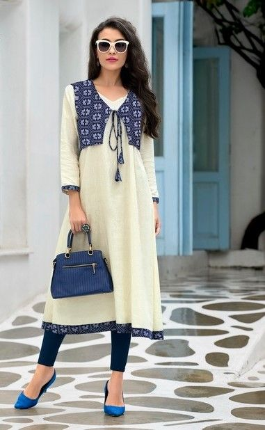 #white #printdesign #jacket #kurti | white Kurtis | trends Kurtis | glace cotton with cambric kurti | party wear | white kurti | blue design jacket Kurtis |