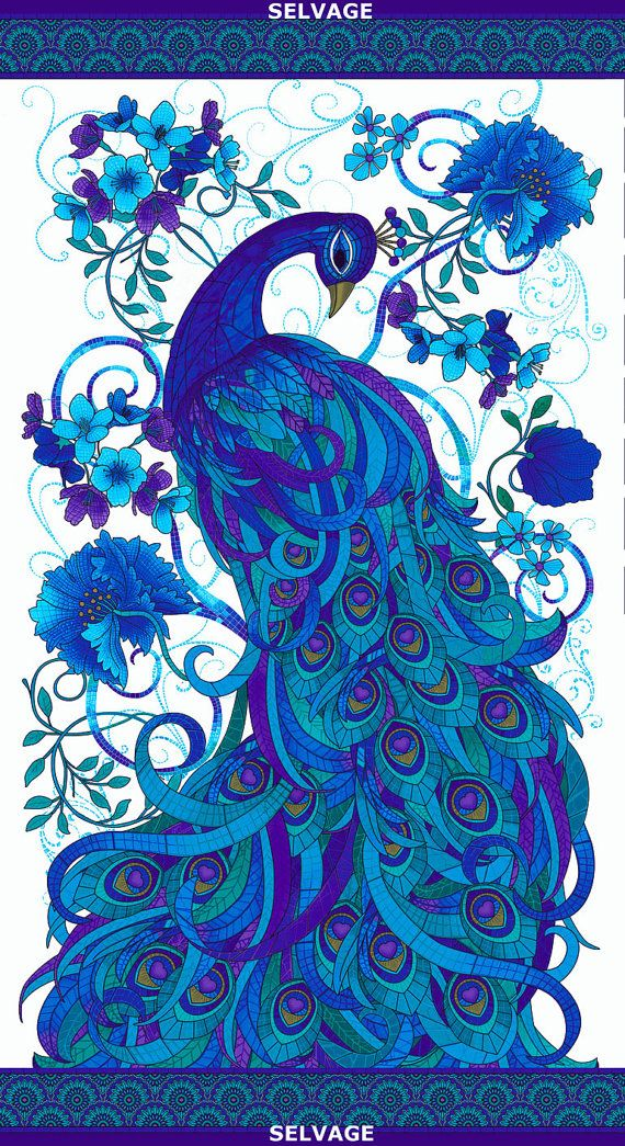 MOSAIC PLUME Peacock Panel for Timeless Treasures Cotton Quilting Fabric Yardage by Chong a Hwang
