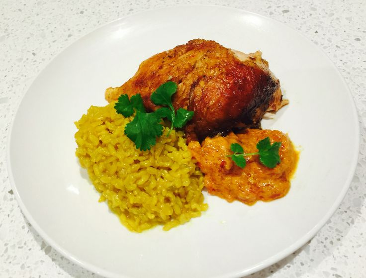 Whole baked butter chicken with turmeric rice