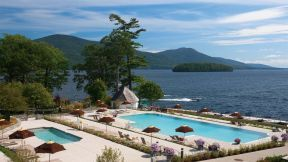 Admire the Adirondack Mountains as you swim under the sun.