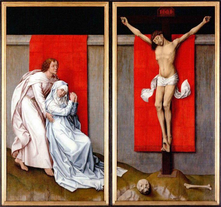 van der Weyden (1400-1464), Diptyque du calvaire v. 1463. L'artiste a vu les oeuvres de Fra Angelico à Florence (Christ en croix), il les adapte ici à la manière flamande : une simplicité florentine.