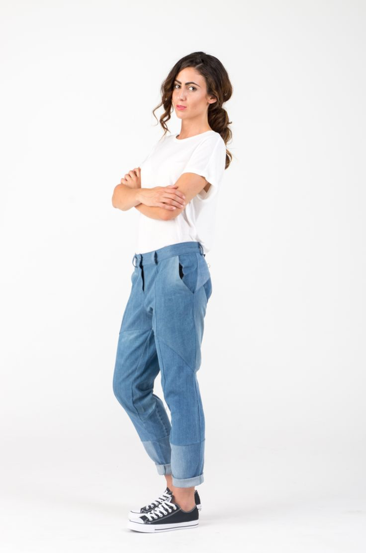 Ethical, conscious, upcycled, recycled, fashion, design, denim, old jeans, casual, AW, trend, woman, boyfriend jeans, blue, DIY, sewing, pattern, https://www.etsy.com/shop/SHAROLTA?ref=hdr_shop_menu