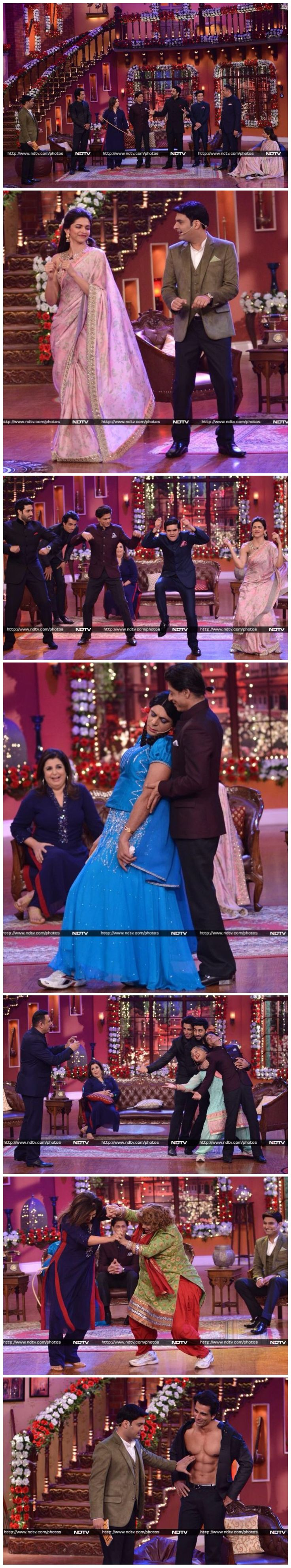 "The ""Happy New Year"" team visited the sets of Kapil Sharma's comedy show ""Comedy Nights with Kapil"". Shah Rukh Khan, Deepika Padukone, Abhishek Bachchan, Boman Irani, Sonu Sood and Vivaan Shah came on the show along with director Farah Khan."