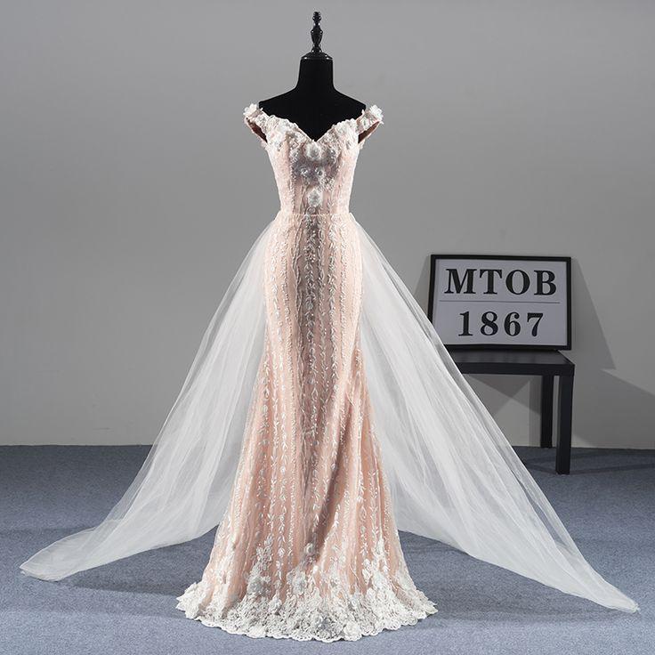 Mermaid lace wedding dresses bridal gown
