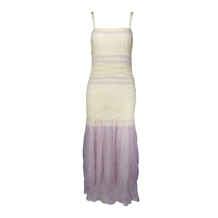 Missoni is famous for their brightly knitted patterns which have become synonymous with the brand. Their creations are the go-to pieces for jet-setters and busy women who have no time for ironing and steaming, as they are wrinkle resistant! This light and floaty (not to mention flattering) maxi dress features a chiffon lilac hem and a figure hugging silhouette. Comes with a separate lining.  | Original Retail Price: 1699 SGD  | New With Tags. | Shell: 100% rayon  | Separate lining: 97%…