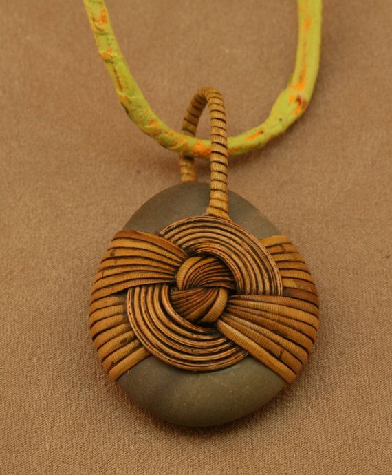 Wrapped Stone Pendant - Spiral with Twist - Cane and Stone on a Shibori Dyed and Painted Shoestring