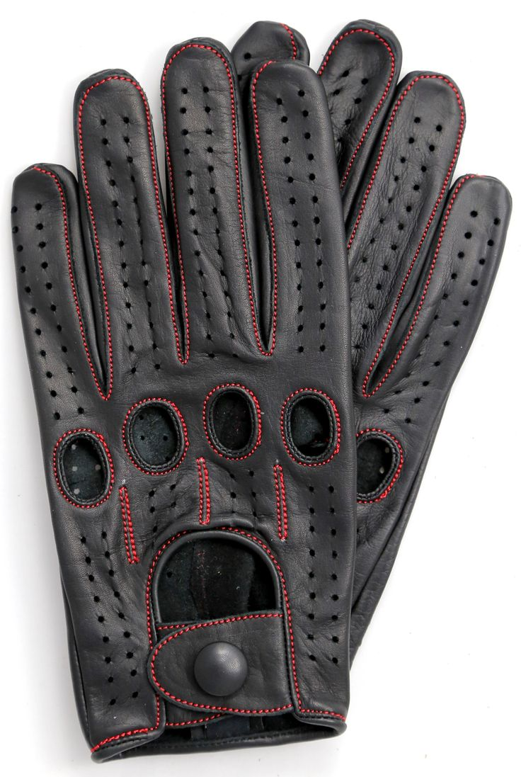 Leather driving gloves knuckle holes - Riparo Leather Driving Gloves Black Red Thread