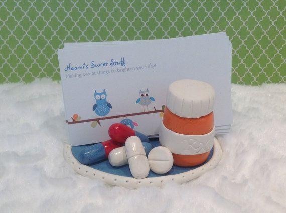Polymer clay business card holder,pharmacist business card holder,doctor,nurse,charming,fun,medicine,pills,prescription bottle,pharmacy,drug