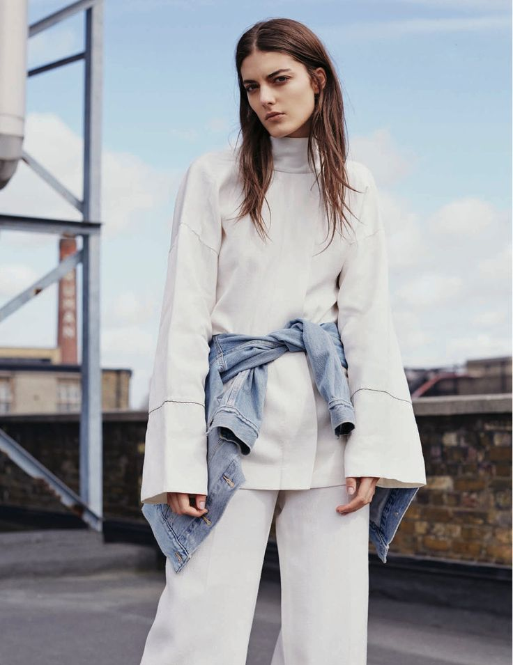 white flared sleeve mock neck top & denim jacket #style #fashion #minimal #editorial