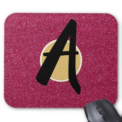 Pink Glitter Letter Initial Monogram Custom Mouse Pad - monogram gifts unique design style monogrammed diy cyo customize