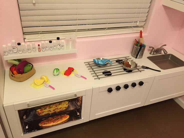 IKEA HACK: play kitchen made from BESTA w/ LAMPLIG and a RIBBA