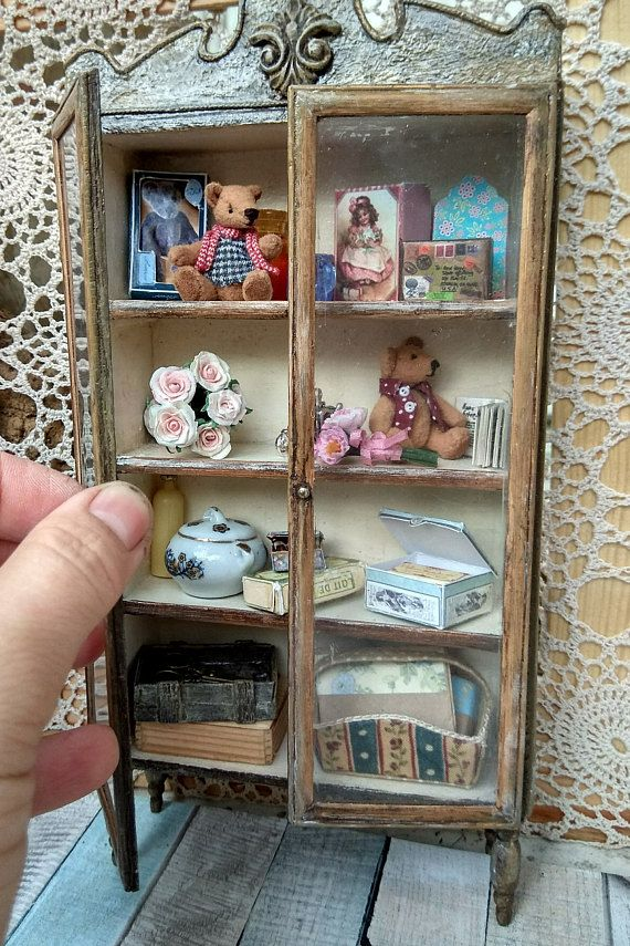 Dollhouse bookshelf miniature furniture multipurpose storage 1