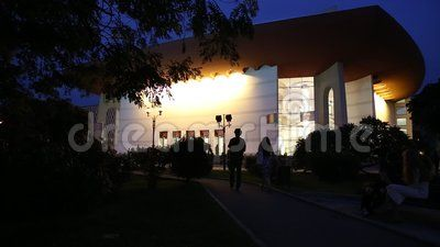 National Theatre Ion Luca Caragiale in Bucharest night, Romania - alley.