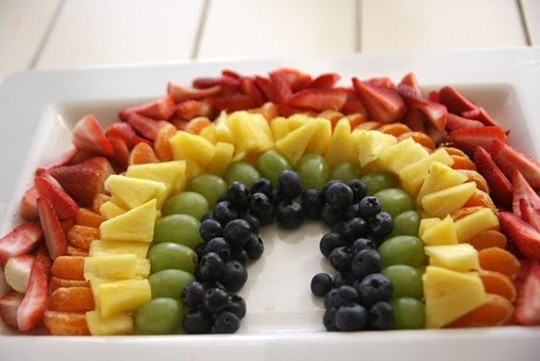 Birthday party toddler food...use cookie cutters to make fruit into fun shapes :)