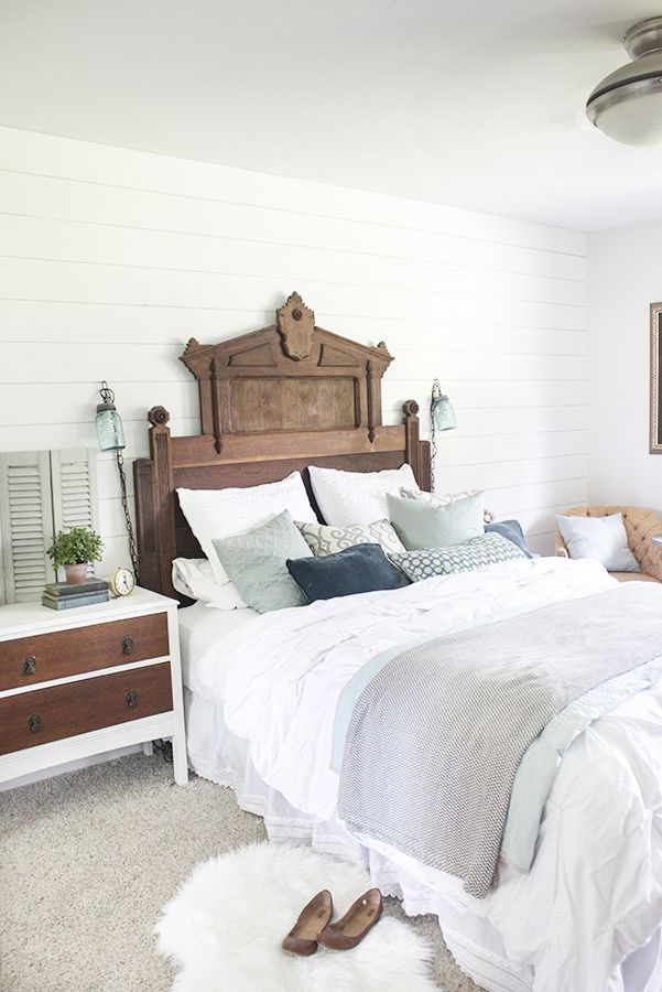 gorgeous master bedroom with eastlake headboard from shades of blue - LOVE