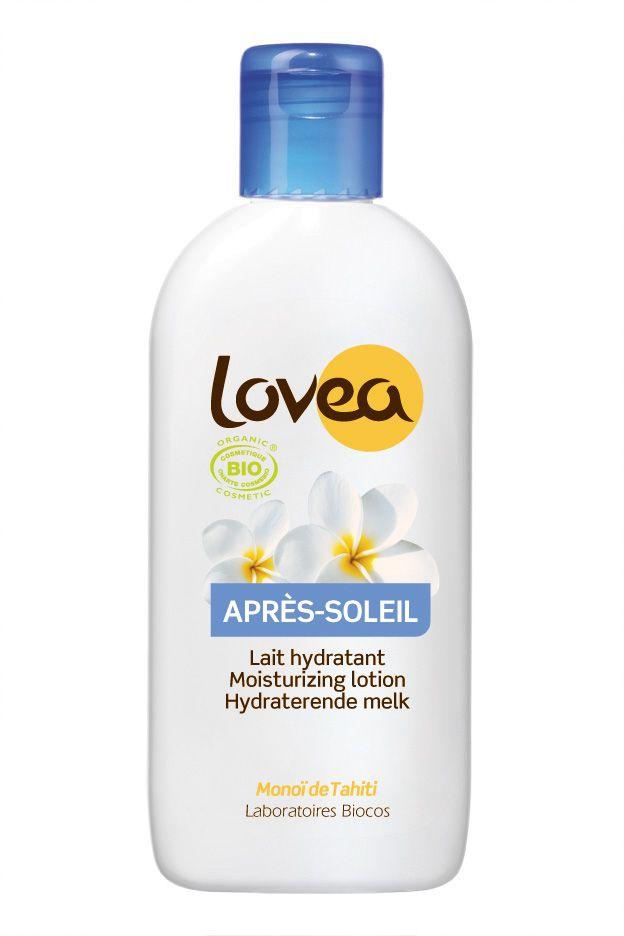 LOVEA BIO After Sun Milk De intensief vochtregulerende, kalmerende en verzachtende After Sun Milk van LOVEA BIO laat de huid na het zonnebaden direct comfortabel en goed gehydrateerd aanvoelen. De rijk verzorgende samenstelling bevat verkoelend pepermunt- extract, natuurlijke vitamine E en kokosolie. Dankzij de toevoeging van Tahitiaanse Monoï- olie voelt de huid soepel en elastisch aan en wordt zij bovendien gehuld in een onweerstaanbaar exotisch geurwaasje!