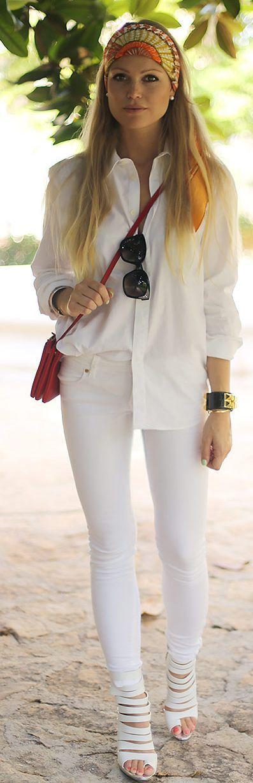 ~Hermes Multi Coloured Indie Print Scarf Bandana & White Shirt | The House of Beccaria