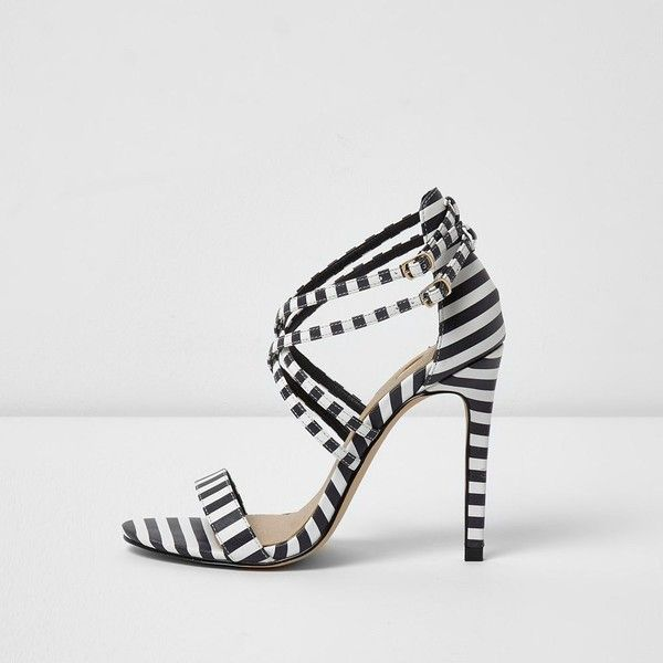 River Island Black and white stripe print caged sandals ($70) ❤ liked on Polyvore featuring shoes, sandals, black, shoes / boots, women, cage sandals, high heel stilettos, black white sandals, open toe high heel sandals and caged high heel sandals