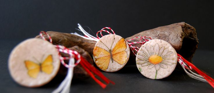 butterflies decoupage brooch, martisor decoupage fluturi