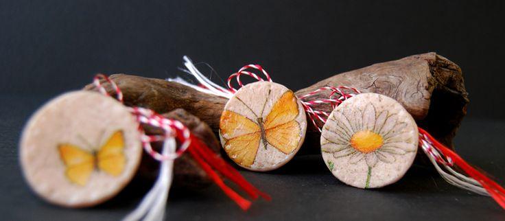 martisoare cu tehnica decoupage, fluturi si margareta, butterflies and daisy