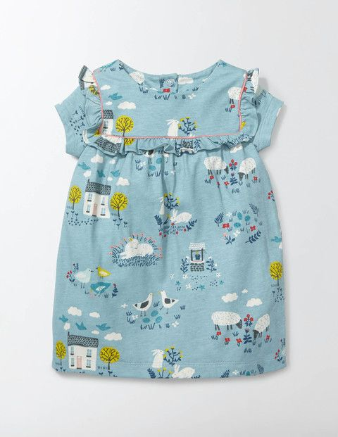 Spring into warmer weather with our delightful dress that's fit for a princess. The supersoft sueded jersey is gentle (and comfortable) on baby's skin. With pretty ruffles on the front, nobody will guess how easy this is to slip on and off, thanks to the fastenings down its back.