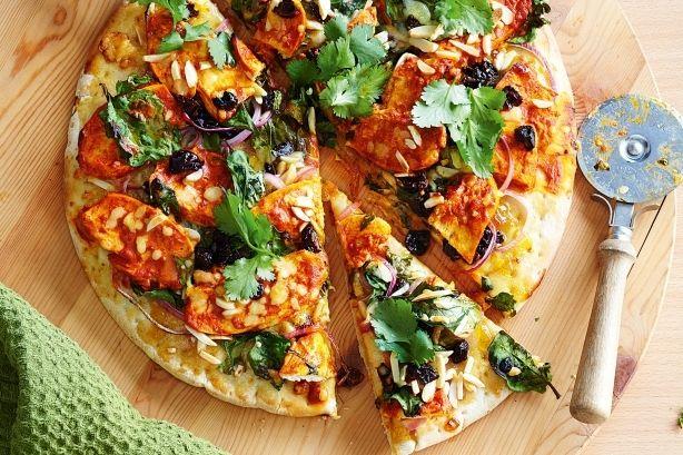 Tandoori chicken pizza recipe.