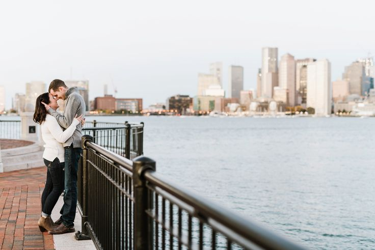 love this pose with the skyline in the back!   Classic Fall Boston Engagement Session | Annmarie Swift | Boston & New England Wedding Photographer