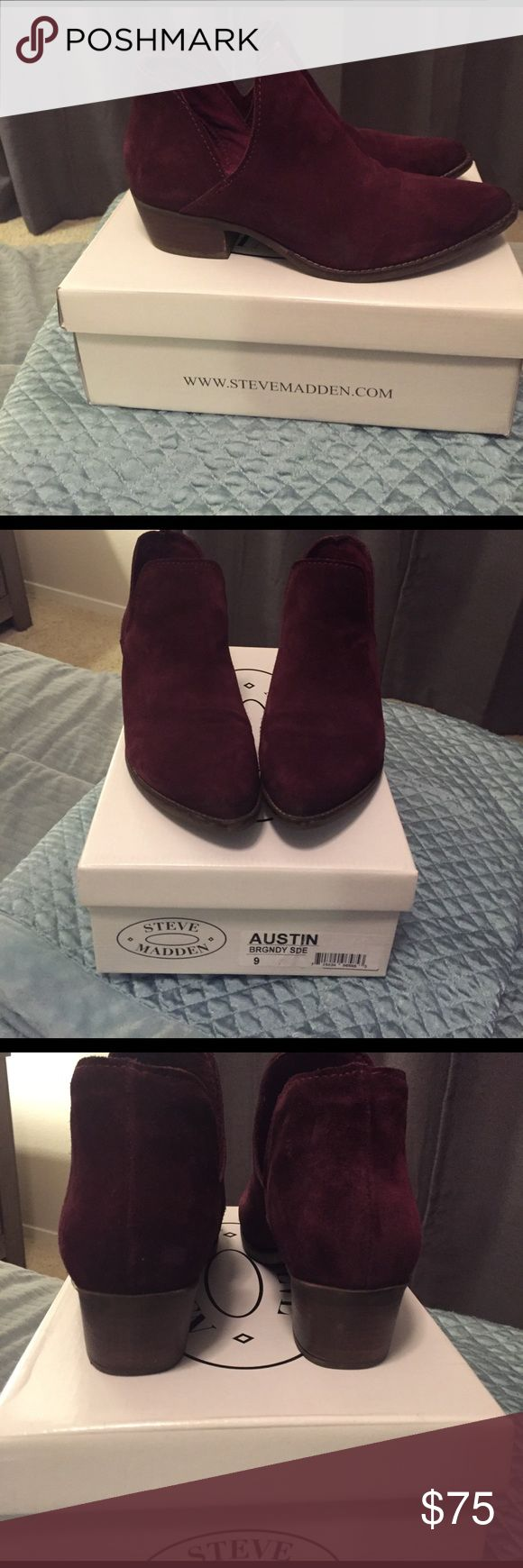 Steve Madden burgundy suede  ankle bootie, size 9 Burgundy suede Steve Madden bootie, like new, wore few times Steve Madden Shoes Ankle Boots & Booties