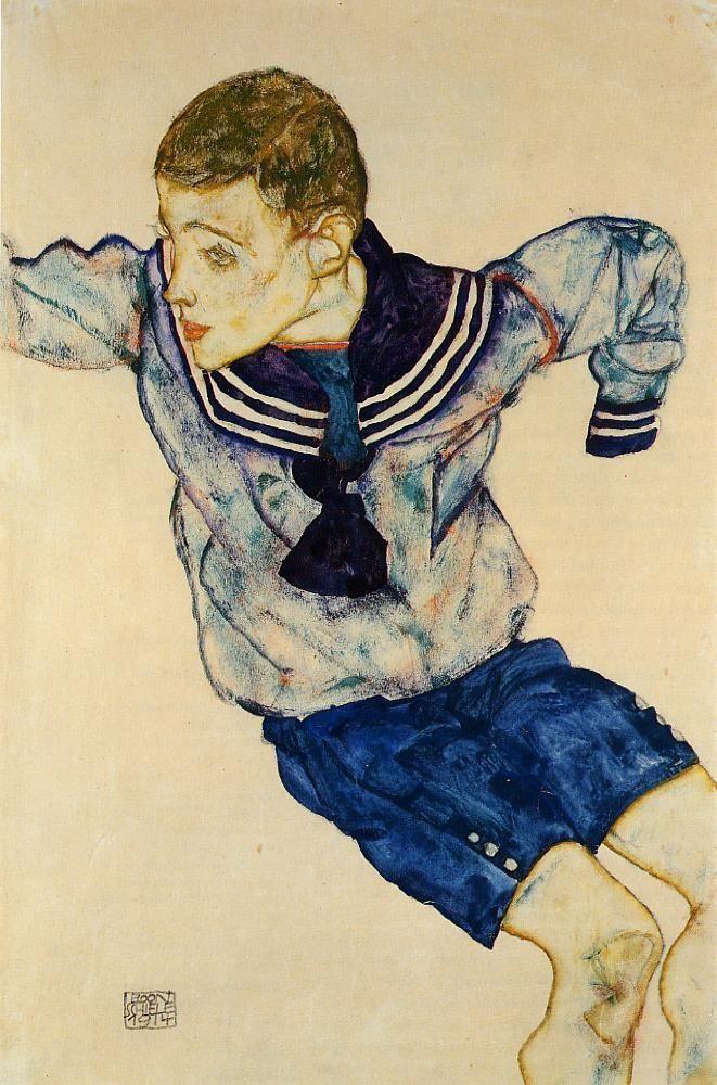 EGON SCHIELE. Boy In a Sailor Suit, 1914, watercolor on paper.