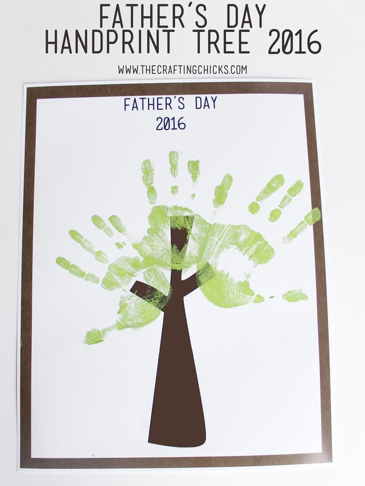 Father's Day Handprint Tree 2016. Gift dad or grandpa this gift that will be a treasure for years to come. A fun craft project for kids.Father's Day Handprint Tree 2016