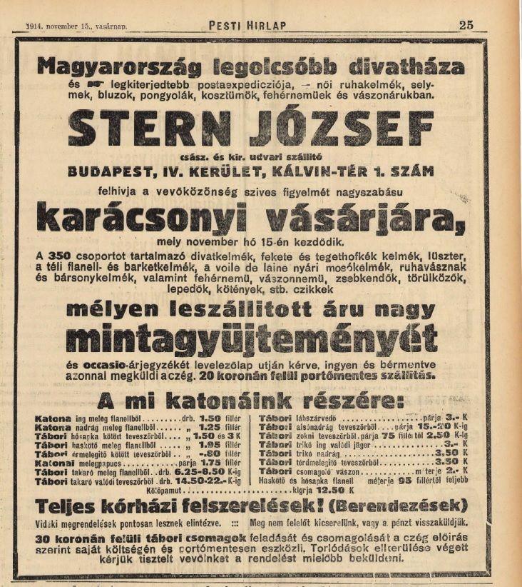 Karácsonyi vásár novemberben , Pesti Hírlap, 1914.11.15