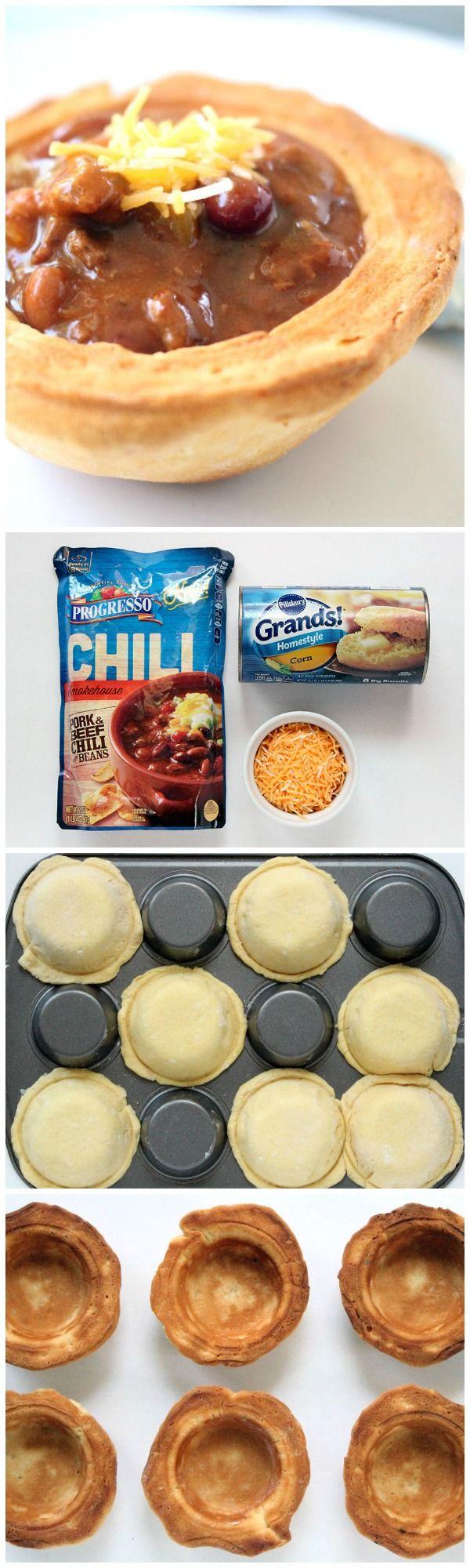 3-Ingredient Cornbread Biscuit Bowls - ready to go in 25 mins!