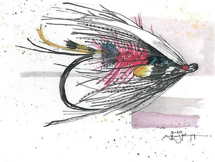 fly fishing drawing - photo #49