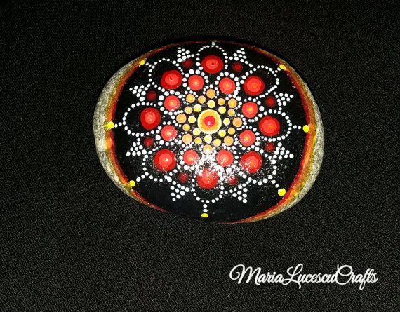 Hand-painted black and red mandala rock dot by MariaLucescuCrafts