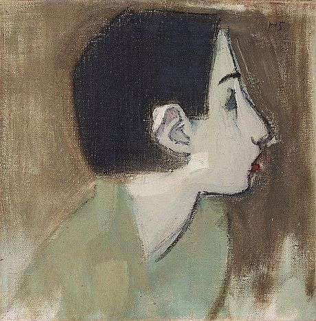 "Helene Schjerfbeck, ""Flickprofil i grön klänning"" (Girl profile in green dress)"