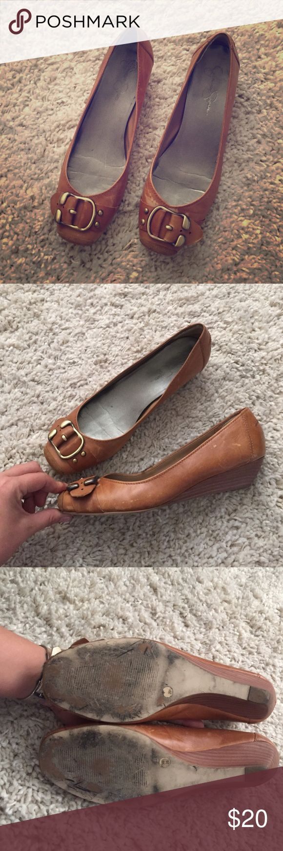 Cognac Jessica Simpson Flats Cognac genuine leather flats with buckle detail. Jessica Simpson Shoes Flats & Loafers