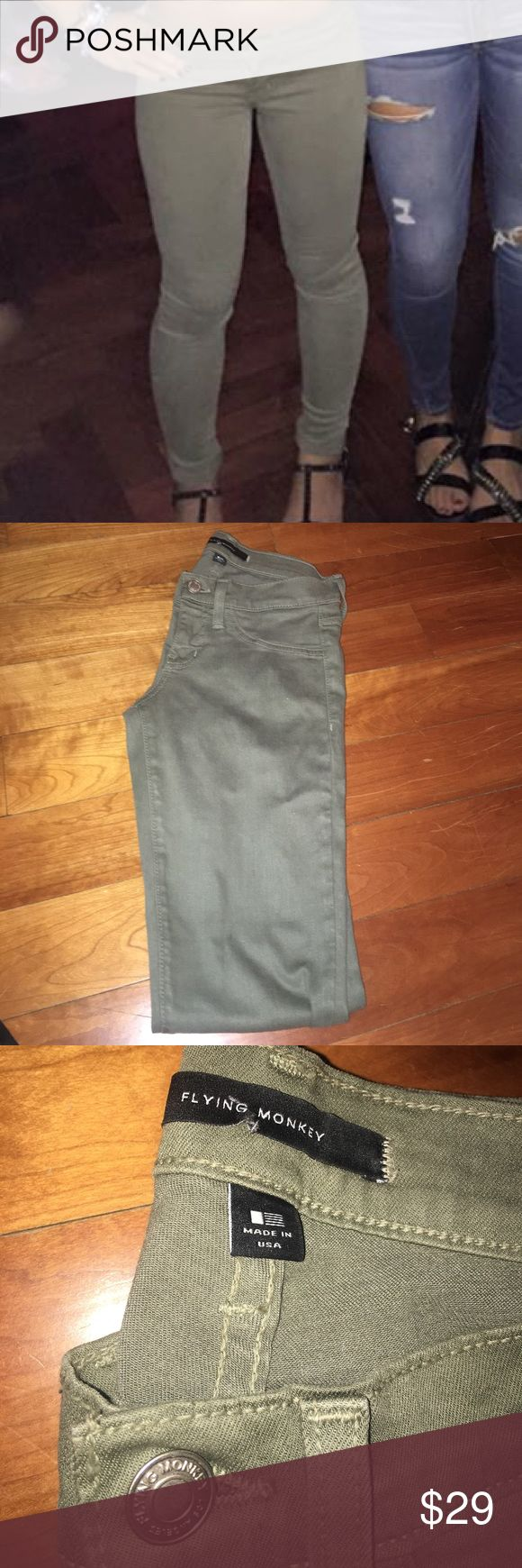 Flying Monkey Olive Skinny Jeans Worn once! (In photo) flying monkey Jeans Skinny