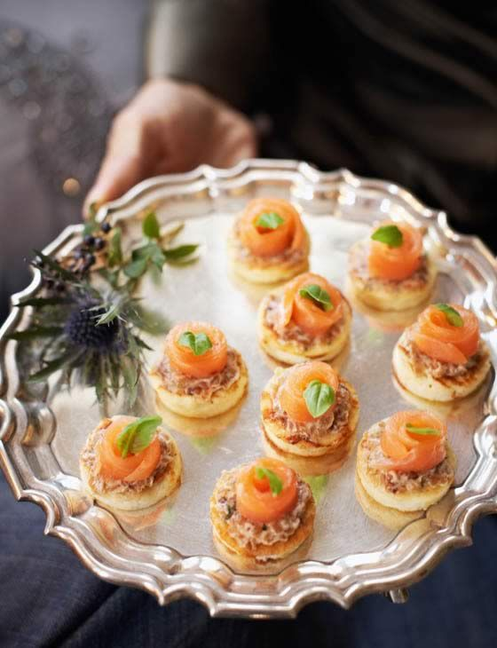 Mini basil and ricotta pancakes with salmon by Marcus Wareing