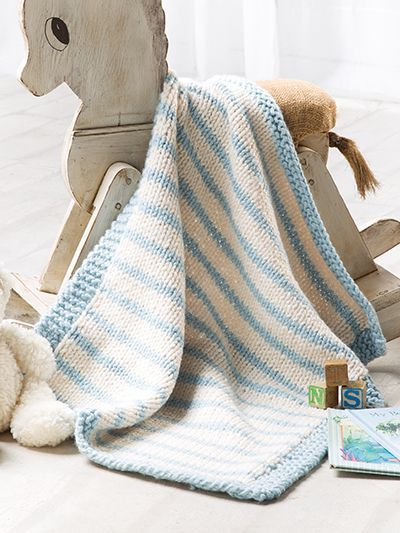 Free knitting pattern for Blue Striped Baby Blanket and more baby blanket knitting patterns