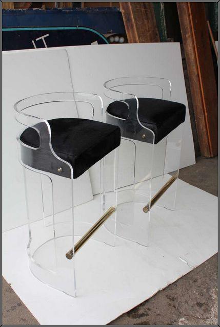 black and acrylic bar stools