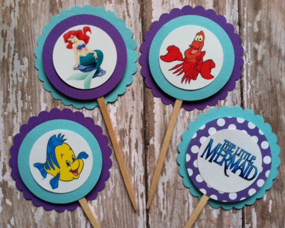 Little Mermaid cupcake toppers Little Mermaid birthday Little Mermaid party Little Mermaid birthday