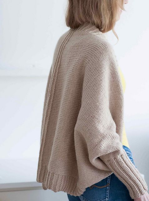 Ravelry: Fold and Turn pattern by Suvi Simola. I like this cardigan/slouchy shrug a lot. Based on a rectangle. Aran wt. at 17sts/4in. 3.90 EUR