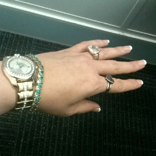 Brighton watch, silver /gold pyramid bracelet (I got for 4.00) Brighton gold silver heart ring (10.00) David yurman look like silver ring (30.00 My own nail French manicure all love!