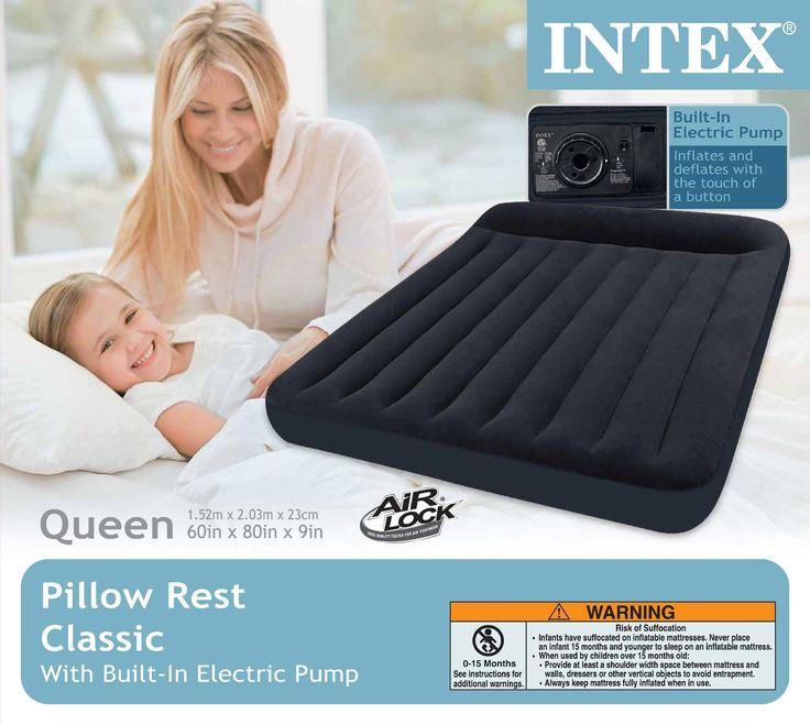 intex queen classic pillow rest airbed air mattress bed w builtin pump
