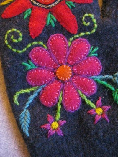 Appliqué and embroidery on recycled wool mittens. By Karin Holmberg.
