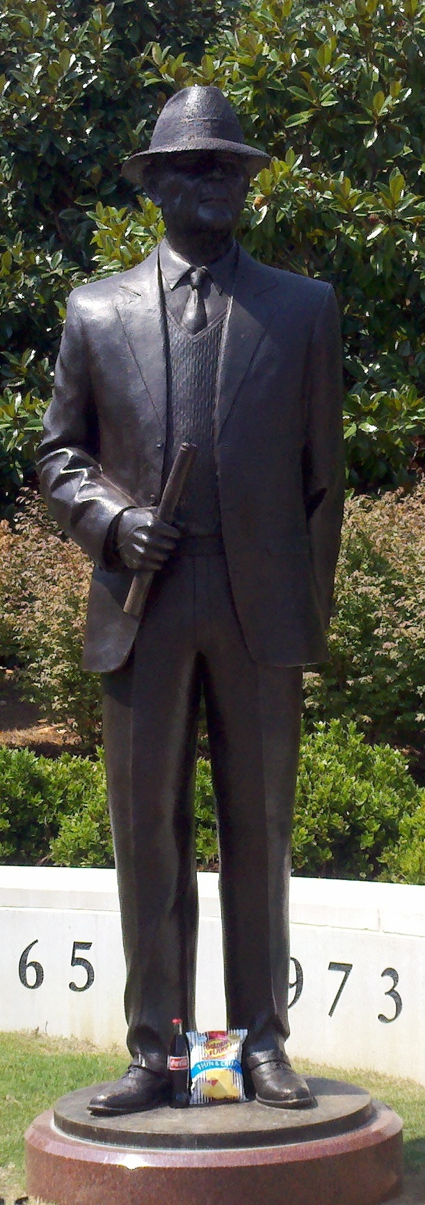 "Statue of Coach Paul ""Bear"" Bryant, outside of Bryant-Denny Stadium in Tuscaloosa, Alabama."