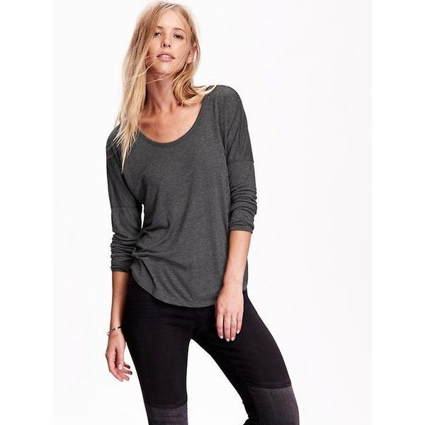 Old Navy Womens Drop Shoulder Tunic ($17) ❤ liked on Polyvore featuring tops, tunics, grey, petite, gray top, old navy tunic, jersey tops, long tops and drop shoulder tops
