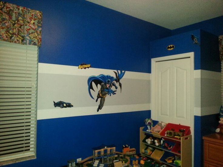 batman playroom with sherwin williams hyper blue paint and. Black Bedroom Furniture Sets. Home Design Ideas